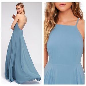 Lulu's Mythical Kind Of Love Maxi Dress Slate Blue